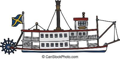 történelmi, gőz, riverboat