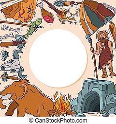 történelmi, neanderthale, human., állhatatos, ősi, primitív...
