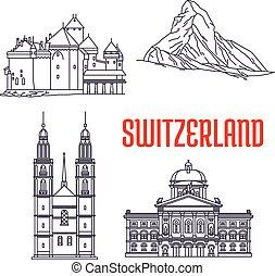 történelmi, sightseeings, épületek, svájc