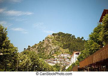 történelmi, város, közül, berat, alatt, albánia, világ, örökség, házhely, által, unesco