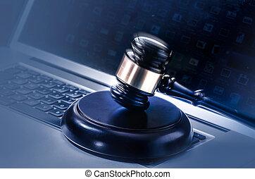 törvény, jogi, fogalom, kép, árverezői kalapács, lapto