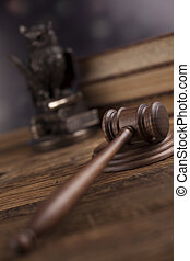 törvény, téma, kalapács, közül, bíró, wooden gavel