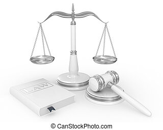 törvénykönyv, árverezői kalapács, jogi, mérleg