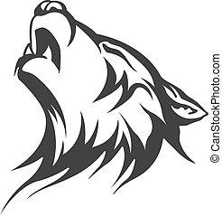 törzsi, tetovál, farkas, tervezés
