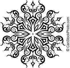 törzsi, tetovál, kör alakú