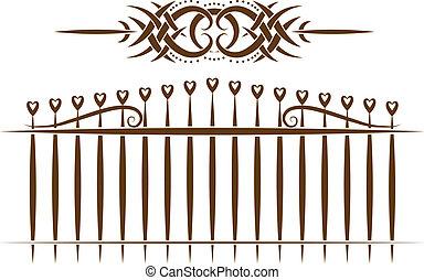 törzsi, vektor, kopog, kerítés, set.