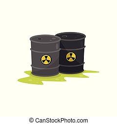tønder, kemisk, radioaktive, to, illustration, affald, miljøbestemte, vektor, baggrund, hvid, forurening