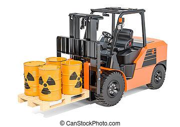 tønder, radioaktive, forklift, gengivelse, lastbil, affald, 3