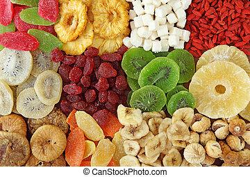 tørret, blande, frugter