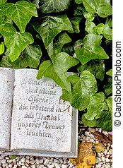 túmulo, com, inscrição