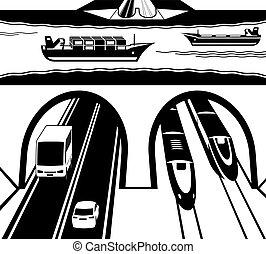 túnel, água, estrada ferro, rodovia, sob