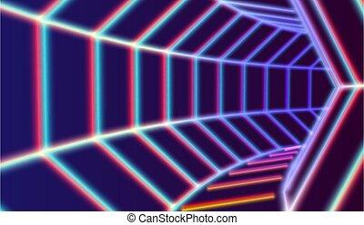 túnel, 80s, diseñar, futurista, lazer, neón, líneas, espacio