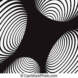 túnel, abstratos, espiral, experiência., pretas, branca
