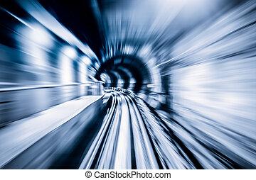 túnel, abstratos, trem, em movimento
