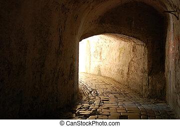 túnel, através, tempo