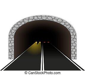 túnel, automóvel, vetorial, ilustração