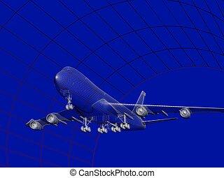 túnel, avión, modelo, viento