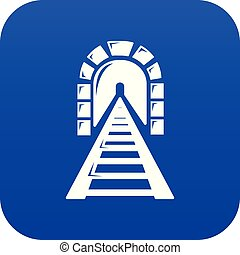 túnel, azul, estrada ferro, vetorial, ícone