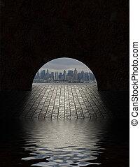 túnel, ciudad, vistos, apertura