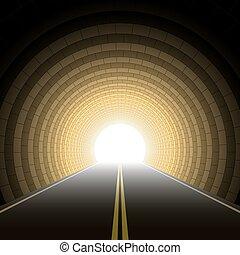 túnel, coche