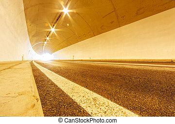 túnel, com, luzes