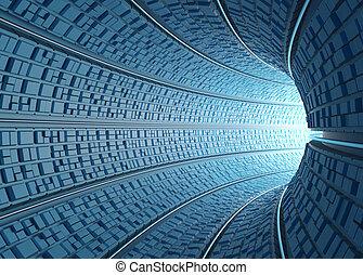 túnel, /, concepto, de, tecnología