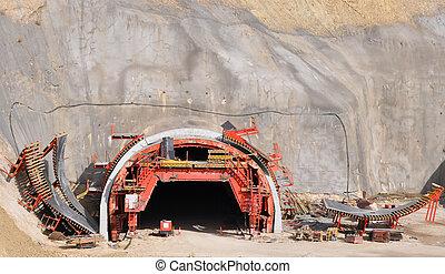 túnel, construção