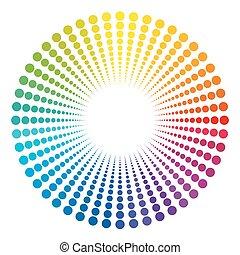 túnel, cores arco-íris, fim, luz