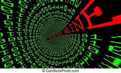 túnel, datos, en línea