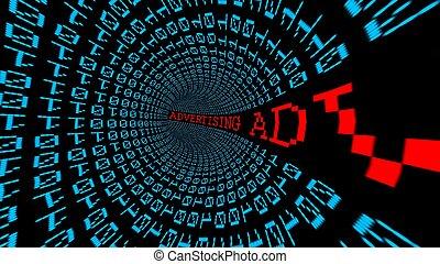 túnel, datos, publicidad