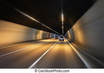 túnel, dirigindo