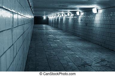 túnel, em, um, urbano, cidade
