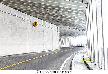 túnel, en, montaña