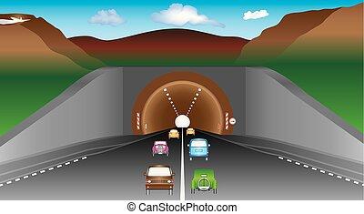 túnel, en, montañas
