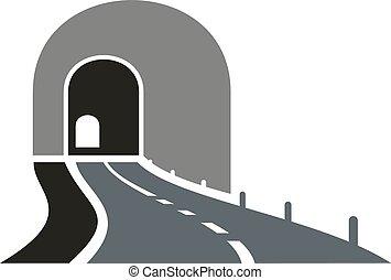 túnel, entrada, paso inferior, camino, icono