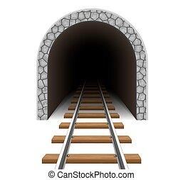túnel, estrada ferro, vetorial, ilustração