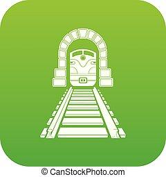túnel, estrada ferro, vetorial, verde, ícone