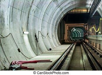 túnel, grande, metro, facilidad