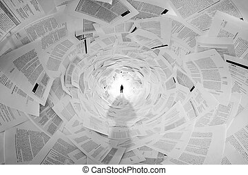 túnel, homem negócios, documentos, fim