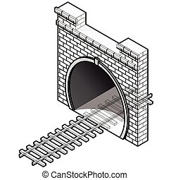 túnel, isometric, antigas, pedra, vetorial, perspective., estrada ferro, 3d, low-poly, edifício.