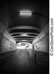 túnel, luz, branca, fim, pretas