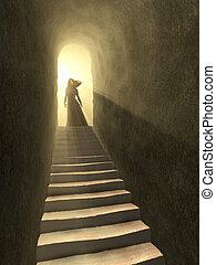 túnel, luz
