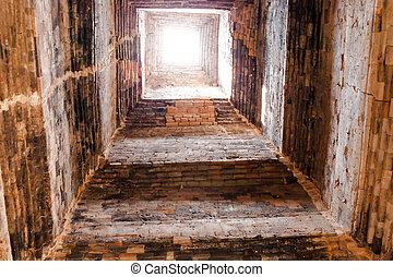 túnel, luz, conceito, fim
