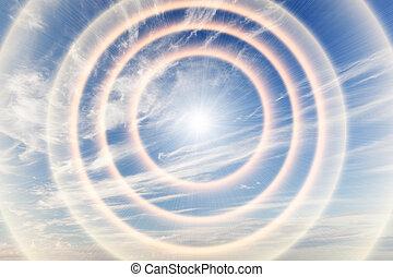 túnel, luz, direção, céu, sun., religião, deus, providence.