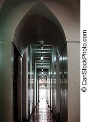 túnel, luz, fim, pretas