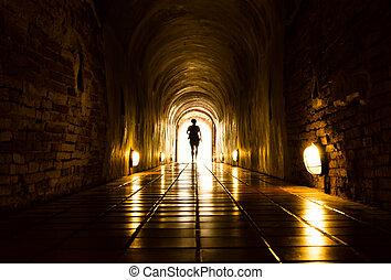 túnel, luz, fin, humano