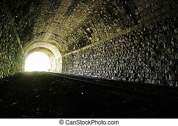 túnel, luz, fin