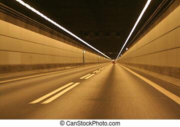 túnel, mar, debajo