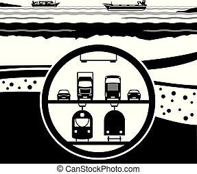 túnel, mar, sob, estrada ferro, multifunctional, rodovia