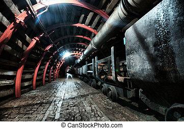 túnel mina, com, caminho